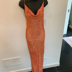 Papell Boutique Vintage Beaded BACKLESS Gown.